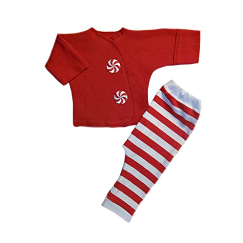 Jacqui's Unisex Baby Peppermint Stripes 2 Piece Christmas Clothing Set, Preemie