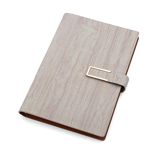 Writing Notebook Journal | Faux Leather Cover, Magnetic Clasp + Pen Loop | Blank Notebook | 200 Lined Pages, 6.5 x 9.1 Inches for Travel, Personal, Poetry Khaki HS001K -