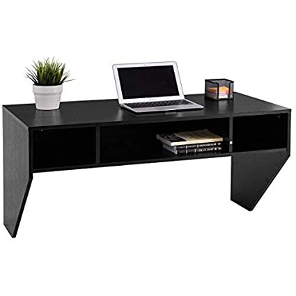 Amazoncom Giantex Wall Mounted Floating Computer Desk With Storage