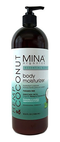 Hemp & Coconut Body Moisturizer 33 ounce Liter (Paraben FREE) with Pump by Mina Organics. Factory Fresh!