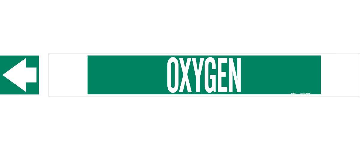 High Visibility Pipe Marker Legend Oxygen Legend Oxygen B-681//B-883 Brady 5735-Hphv High Performance White On Green Polyester Over-Laminate On Fiberglass Plastic Carrier