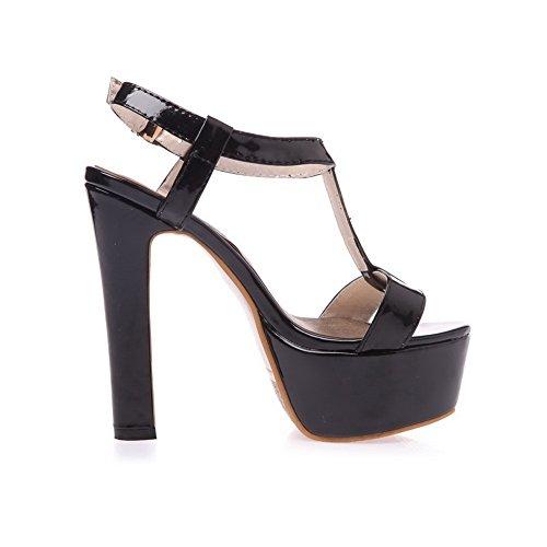 Buckle Black Open Heels Solid High Toe AgooLar Women's Sandals PU 0zWgx