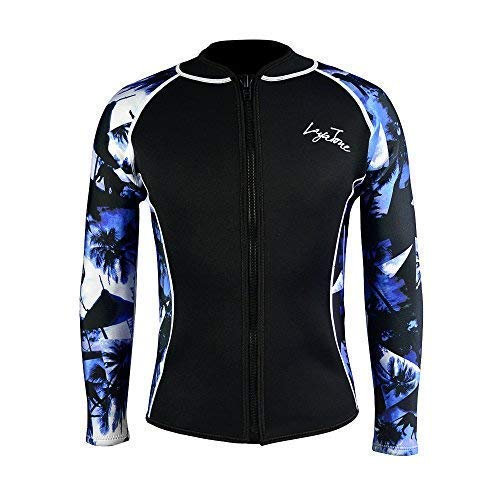 Layatone Wetsuits Top Women Men 3mm Neoprene Jacket Tops Diving Surfing Suit Rash Guard Long Sleeevs Front YKK Zipper Wet Suits Jacket Top Adults (Blue-Neoprene Sleeve,S) by Layatone
