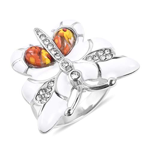 (Shop LC Delivering Joy Butterfly Statement Ring Murano Millefiori Glass Stainless Steel Jewelry for Women Size 9)