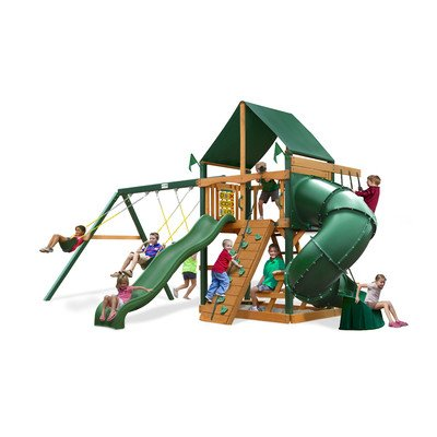 Gorillaplay Sets Home Backyard Playground Mountaineer Swing Set with Amber Posts and Sunbrella Canvas Forest Green Canopy