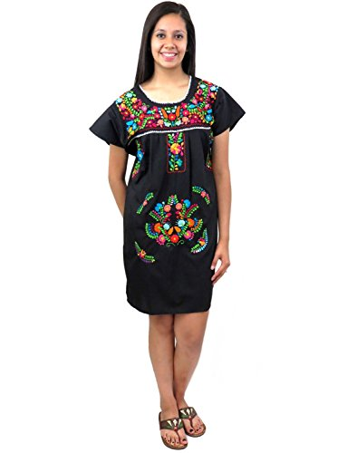 Ethnic Identity Leos Imports (TM) Mexican Dress Puebla Short Embroidery (Large, Black with Multi)