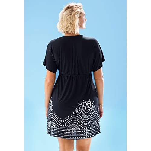 8ca55a63f6946 swimsuitsforall Women's Plus Size Black Boho Silver Foil Kimono Dress 60%OFF