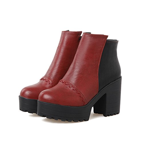 A&N Womens Chunky Heels Two-Toned Thread Imitated Leather Boots Red AyjVvY8