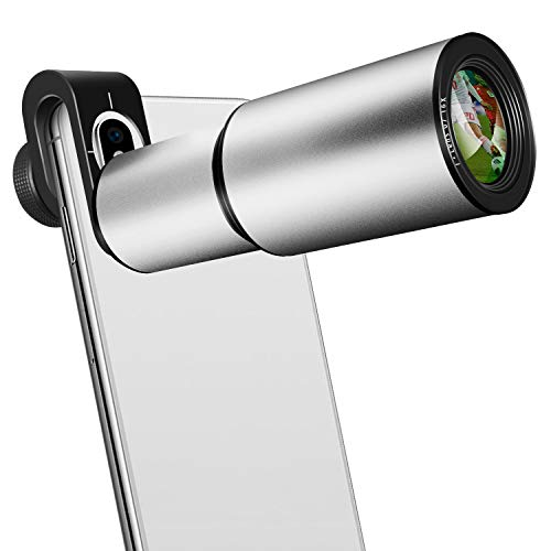 Cell Phone Lens, 16X Zoom Telephoto Lens, Aluminium Alloy HD Phone Camera Lens for iPhone, Samsung, Android Smartphone, Monocular Telescope (Silver) (Pocket Iphone Lens)