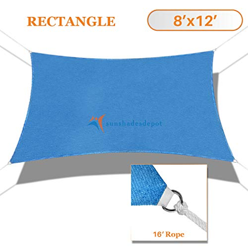 Sunshades Depot 8 x 12 Sun Shade Sail Rectangle Permeable Canopy Ice Blue Custom Size Available Commercial Standard