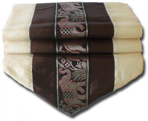 by soljo - tablecloth tablerunner table runner linen Thai Silk Elegant Elephant 150/200/250 cm x 32 cm many colors TC0130-TC0144 (darkbrown, 250 cm x 32 cm)