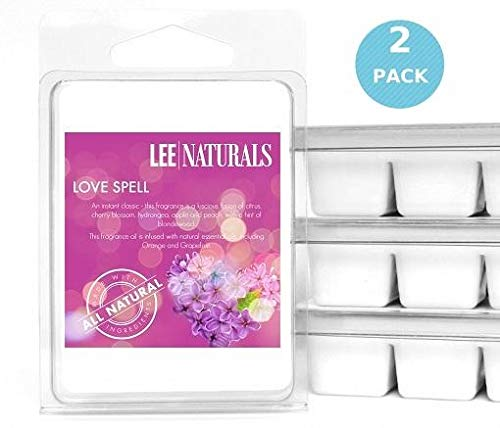 Lee Naturals Classic Collection - (2 Pack) Love Spell Premium All Natural 6-Piece Soy Wax Melts. Hand Poured Naturally Strong Scented Soy Wax Candle Cubes
