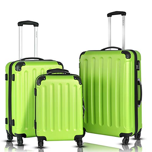 Goplus 3Pcs Luggage Set, Hardside Travel Rolling Suitcase, 20/24/28 Rolling Luggage Upright, Hardshell Spinner Luggage Set with Telescoping Handle, Coded Lock Travel Trolley Case (Green)