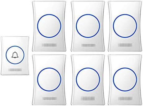 壁のプラグインコードレスドアチャイム、防水ドアベルキットのプラグ、1000フィートの範囲で最高のコードレスドアチャイム38チャイム4レベルボリューム(1つのプッシュボタンと6つのレシーバー),白