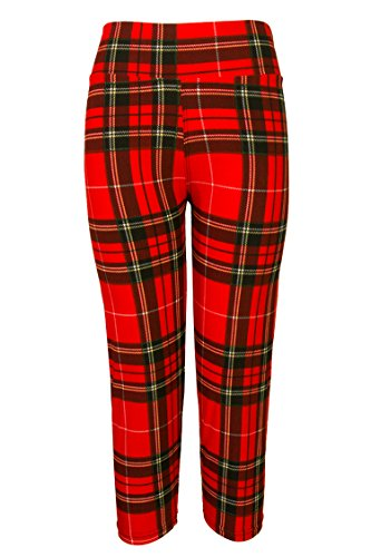 Pink Queen® Womens Tartan Active Workout Capri Leggings Fitted Stretch Tights