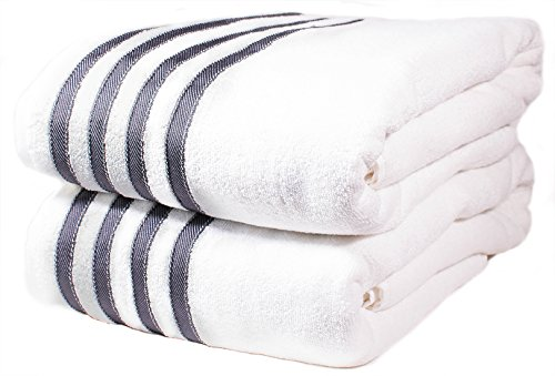 2 Premium Beach-Towels Pool-Towels 100% USA Cotton Bath-Towels Bath-Sheets 2 Massive Hotel Spa Quality Towels Super Luxury Palazzo Absorbent & Durable. White with Gray Stripes. By Paradise Linen