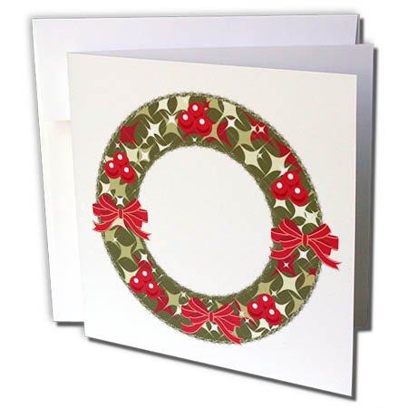 3dRose Anne Marie Baugh - Christmas - Red and Green Christmas Holly Berry Wreath and Bows Illustration - 1 Greeting Card with envelope (gc_266708_5) - Christmas Wreath Holly Bow
