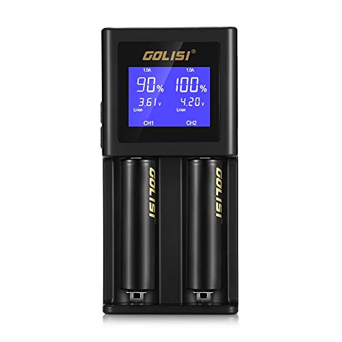 LCD Display Universal Battery Charger, INLIFE S2 2-Bay Speedy Smart Battery Charger for Rechargeable Batteries Ni-MH Ni-Cd A AA AAA AAAA C SC, Li-ion 18650 26650 20700 26500 22650 18490 17670 17500 by INLIFE
