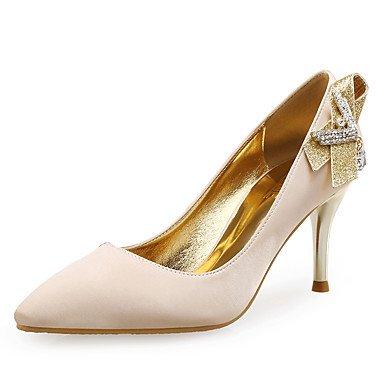 Club de las mujeres se inclinan los zapatos de seda sintética del brillo banquete de boda y vestido de noche de tacón de aguja del Rhinestone Negro Almendra Black