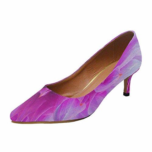 InterestPrint Womens Low Kitten Heel Pointed Toe Dress Pump Shoes Pink Dahlia Flower Multi 1 tWDX59