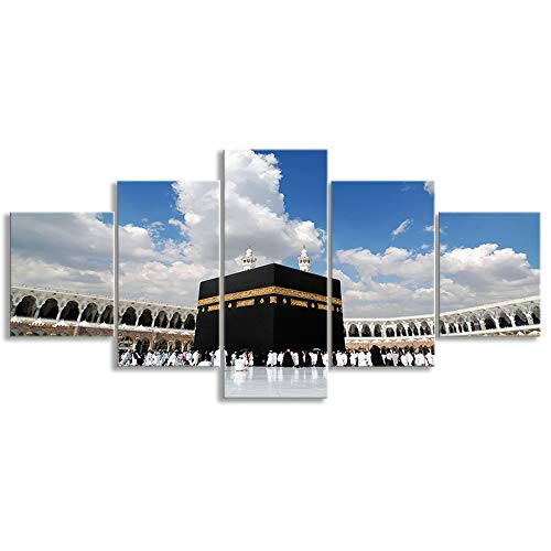 KALAWA Canvas Islamic Wall Art Painting Posters Prints Pictures for House Decor and Living Room 5 Piece Framed Ready to Hang Large Panel Set Supply Decoration(50''W x 24''H)