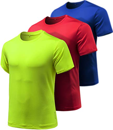 Athlio Men's (Pack of 3) Quick-Dri Fit Tee Performance Short Sleeve Mesh Top Crew Athletic T-Shirt, 3pack(cts10) - Blue/ Red/ Lime, X-Large (Tee Running Mens)