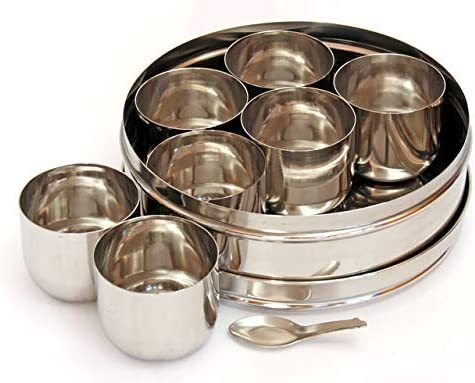 Stainless Steel Round Spices Box Kitchen Masala Dabba – Spice Container – Masala Dabba – 7 Compartments with 2 Spoon, Airtight Silver Color 7.3 Inch