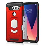 LG V30 Wallet Case, Slim Armor Shockproof Heavy Duty Protection Dual Layer TPU&PC Hybrid Case Cover with Card Slot Car Mount Holder Thin Case for LG V30 (2)