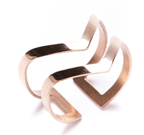 Happiness Boutique Double Chevron Band Ring in Rose Gold | Open Cuff Ring Titanium Jewelry - Double Happiness Jewelry