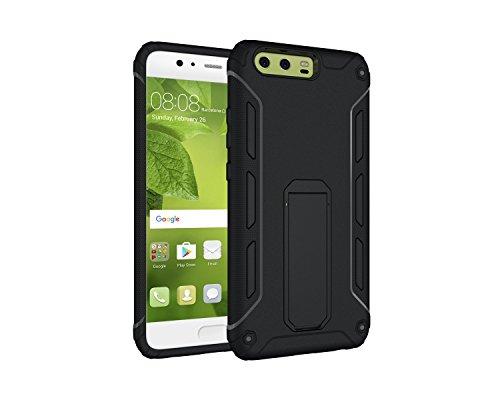 Funda Huawei P10,Saincat TPU Silicona con Diseño 3D Carcasa Case con Stand Holder Bumper Case con integrado Soporte Soporte Anti-Drop Shockproof Slim Funda caso Parachoques Silicona Transparente TPU p Negro