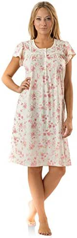 Casual Nights Women's Fancy Lace Flower Short Sleeve Nightgown