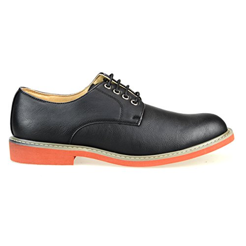 O-nine Mens Lace-up Scarpe Derby Scarpe Casual Piatte Punta Rotonda Ms1300 Nero Liscio