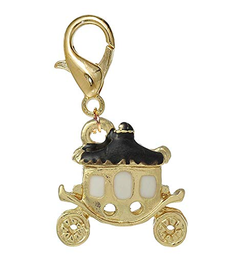 Gold Plated Key Charm - Princess Carriage Black Enamel Gold Plated Clip On Dangle Charm for Bracelets Crafting Key Chain Bracelet Necklace Jewelry Accessories Pendants