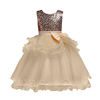 Willsa Baby Girl Bow Multi-Layered Tulle Ruffle Princess Dress Birthday Party Dress Performance Dress