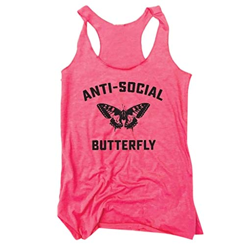iNoDoZ Women's Casual Summer Tank Top Anti-Social Butterfly Letter Print Vest Sport & Fitness Pink