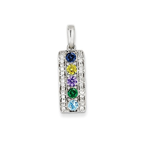 Jewelry Pendants & Charms Family & Mother's Pendants 14K White Gold Family Jewelry Genuine Stone and Diamond Set Pendant