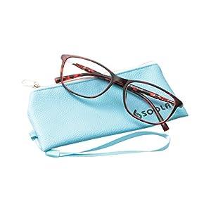 SOOLALA Lightweight TR90 Full Frame Oversized Clear Lens Eyeglasses Reading Glasses, WineRed, 0.5D