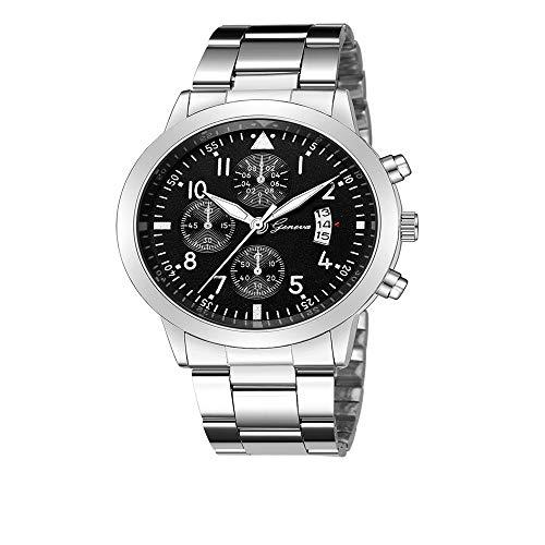 YunhuiM⌚Men Watches Luxury Quartz Sport Military Stainless Steel Dial Steel Strip Band Wrist Watch Business Clock (H)
