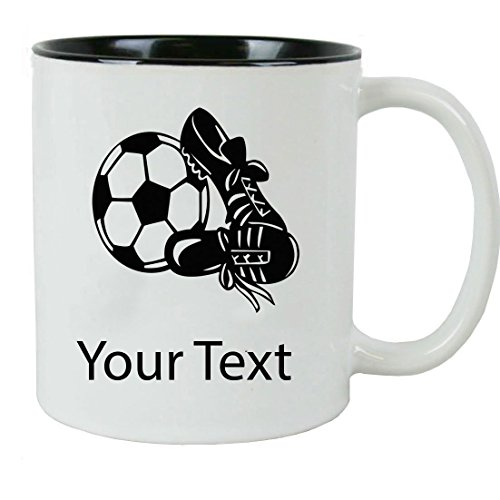 Personalized Custom Soccer 11 oz White Ceramic Coffee Mug with White Gift Box by CustomGiftsNow