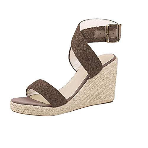 ◕‿◕Watere◕‿◕ Women's Peep Toe Hemp Rope Buckle Strap Bohemia Sandal Wedges Shoes Indoor Outdoor Heels Fish Mouth Sandals Coffee