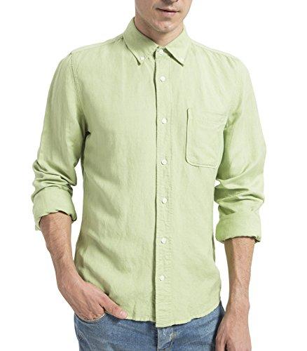 Green Linen Button (OLIVE OLIVIA Casual Shirt Men Linen Long Sleeve Grass Green M)
