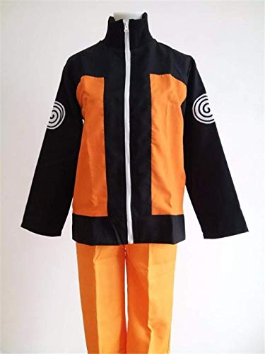Anime Halloween Costumes Uzumaki Naruto Cosplay Costume for Men Anime Clothes Jacket Suits Wig (M) ()