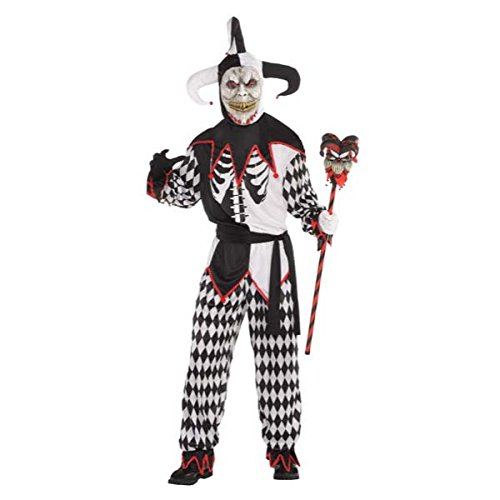 AMSCAN Sinister Jester Halloween Costume for Men, Standard Size with Included Accessories ()