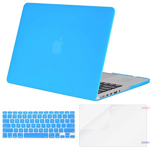 MOSISO Case Only Compatible MacBook Pro (W/O USB-C) Retina 13 Inch (A1502/A1425)(W/O CD-ROM) Release 2015/2014/2013/end 2012 Plastic Hard Shell & Keyboard Cover & Screen Protector, Brahmin Blue