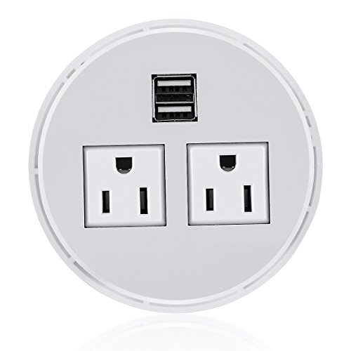 t Hub 2 Power Socket & Dual USB Ports For Office Desk Grommet Outlet Table Recessed Power Outlet Durable Plastic Top (White) with 6 FT Power Cord ()