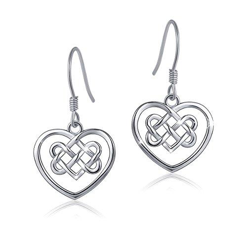 ATHENAA S925 Sterling Silver Good Luck Infinity Love Heart Celtic Knot Earring (Earring 2)