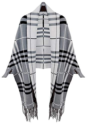 Bellady Winter Thick Cardigan Coat Ladies Open Front Fringe Batwing Poncho Plaid Cardigan Cape, Gray