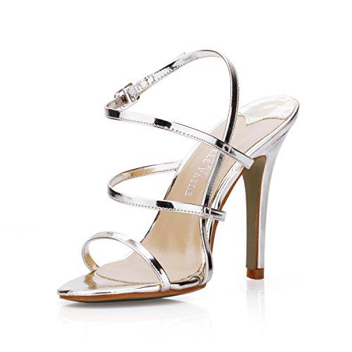 Femenino Zapatos Perla El Sandalias heel Noche Simple Fina Verano Alto Con Un Vestido Shoes Negra Silver De Mujer Rqwqdp1