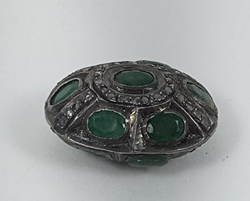 1 Piece Pave Diamond with Green Sapphire 925 Sterling Silver Oval Antique Finish Beads 925 Sterling 24 mm X 18 mm