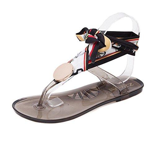 GIY Women's Clear Beach Flip Flop Jelly Sandals T-Strap Summ